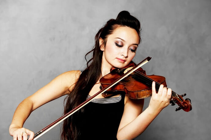 talented girl plays violin