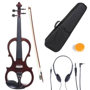 Cecilio Solid Wood Mahogany Metallic Electric Silent Violin