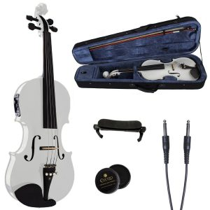 Cecilio White Acoustic Electric Violin in Pearl White