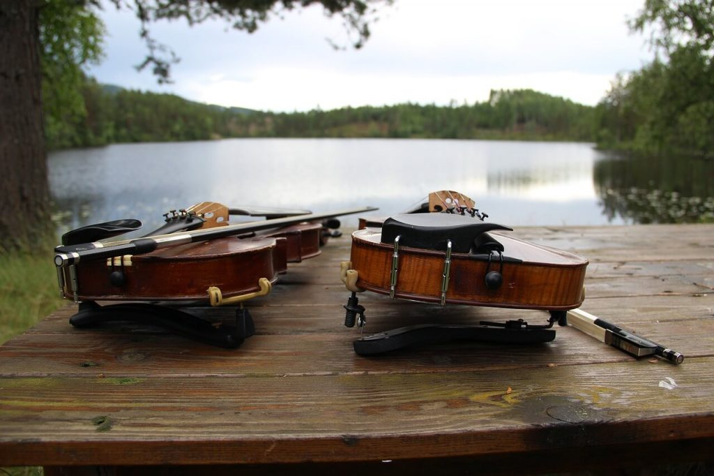 violins by lake